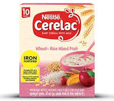 Nestlé CERELAC Fortified Baby Cereal with Milk, Wheat - Rice mixed Fruit – From 10 Months, 300g