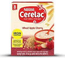 Nestlé CERELAC Fortified Baby Cereal with Milk, Wheat Apple Cherry – From 8 Months, 300g