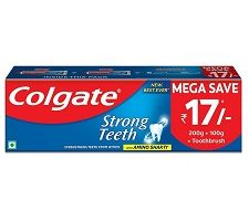 Colgate Strong Teeth Toothpaste with Amino Shakti - 300g with Free Toothbrush